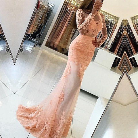 Image of Long Sleeves Open Back Lace Mermaid Prom Dresses