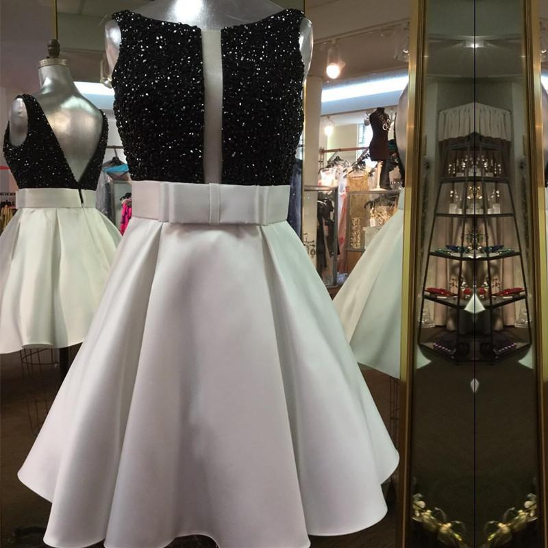 Black Beaded Top White Satin Prom Homecoming Dress Short