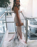White Lace Appliques Sweetheart Long Mermaid Bridesmaid Dress