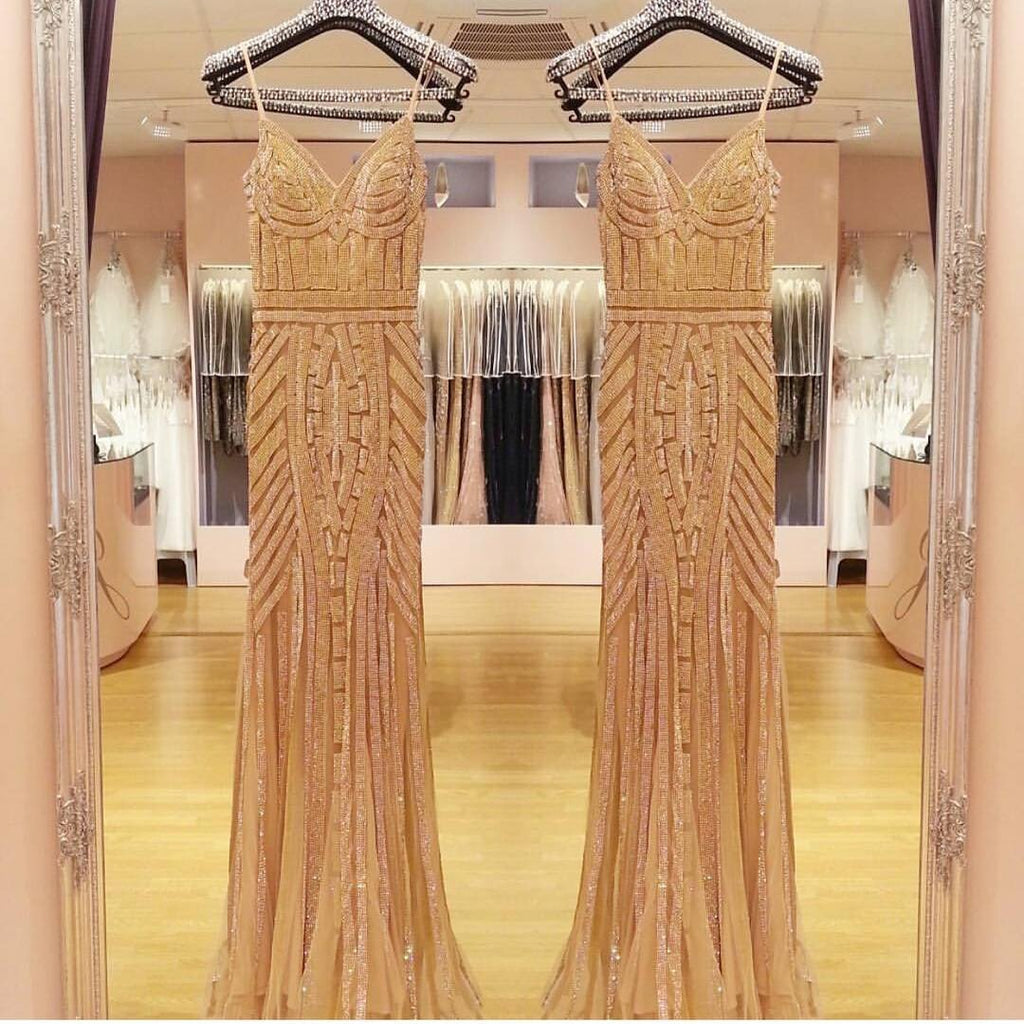 V Neck Long Tulle Mermaid Evening Dresses With Gold Beading