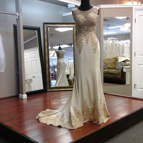 Image of ivory chiffon mermaid prom dresses with gold lace appliques