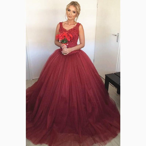 Image of Lace Cap Sleeves V Neck Ball Gowns Wedding Dresses Burgundy
