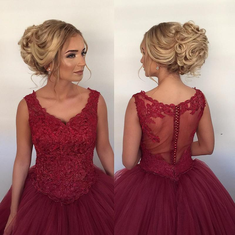 Lace Cap Sleeves V Neck Ball Gowns Wedding Dresses Burgundy