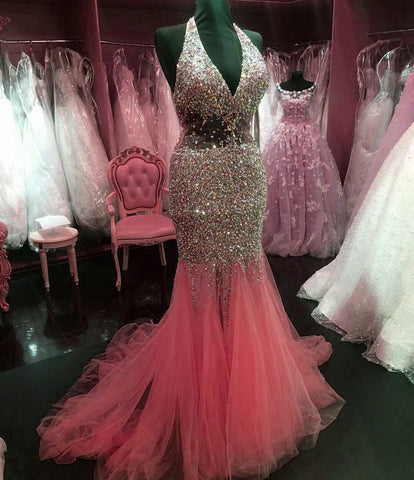 Image of Halter Tulle Crystal Beaded Mermaid Evening Dresses Prom Gowns 2017 Sexy