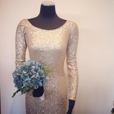 Image of Long Sleeves Gold Sequin Bridesmaid Dresses