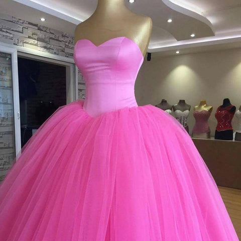 Image of Sweetheart Bodice Corset Tulle Ball Gowns Quinceanera Dress Pink