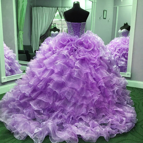 Image of Crystal Beaded Sweetheart Organza Layered Quinceanera Dresses 2017