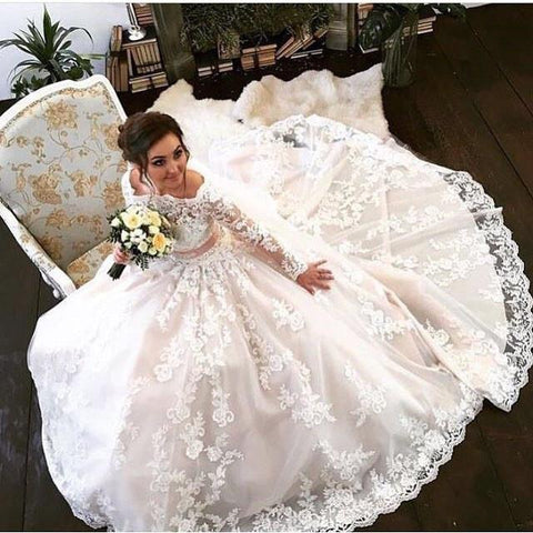 Image of Long Sleeves Ball Gowns Lace Wedding Dress Champagne