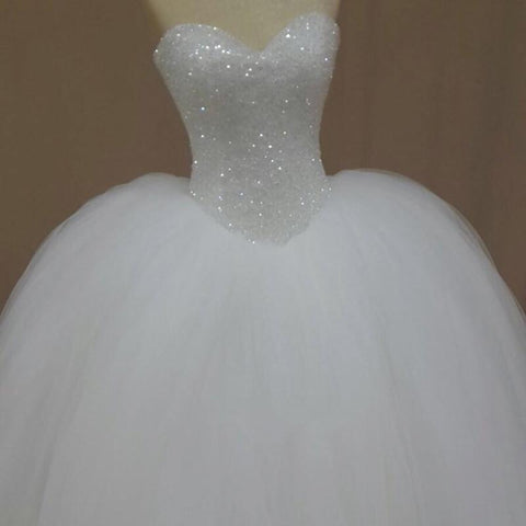 Image of Bling Bling Sequins Beading Organza Ball Gowns Wedding Dresses