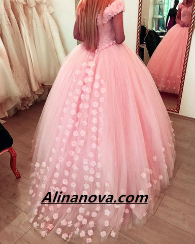 Image of Blush Pink Flower Wedding Dresses Ball Gowns With Sequins Beaded Corset