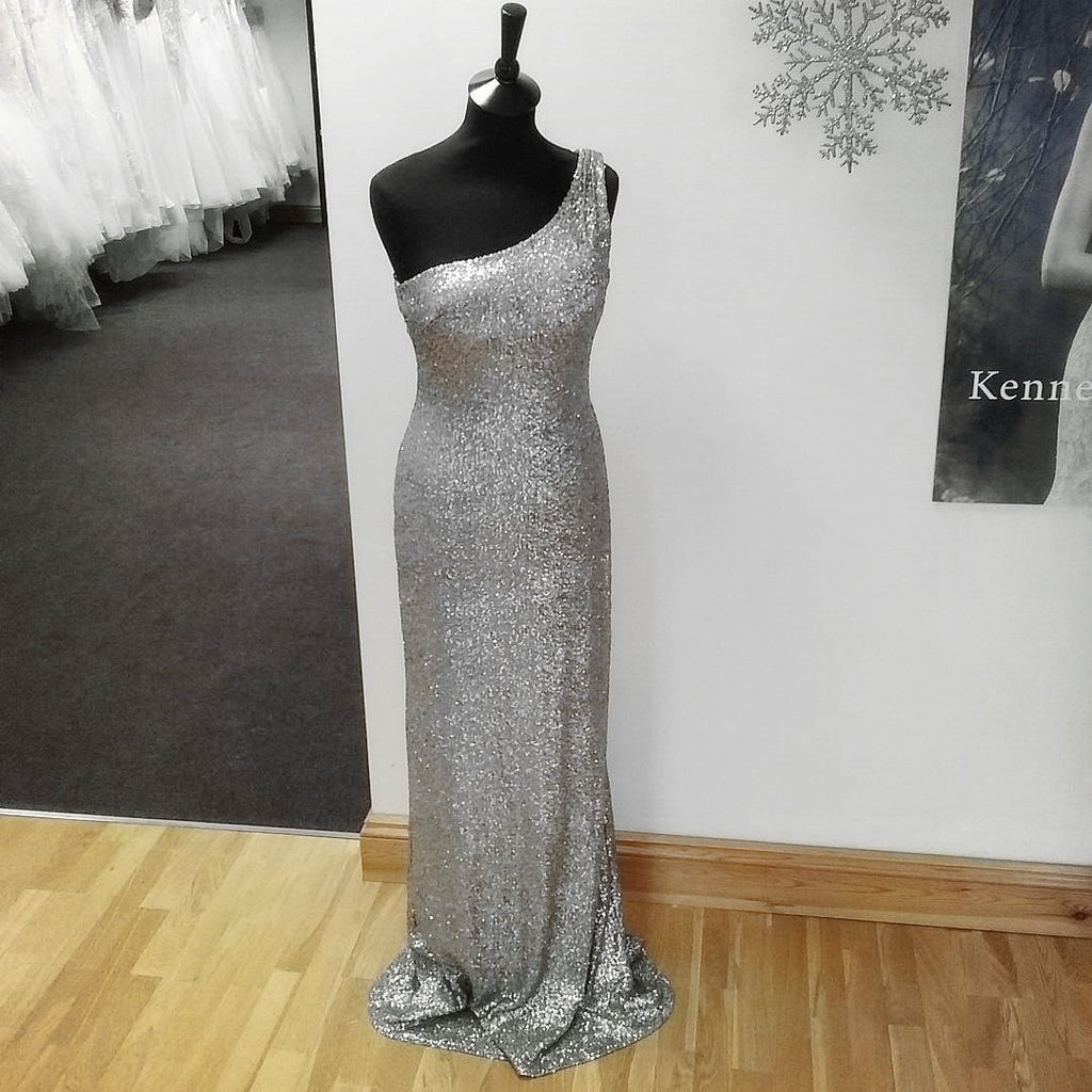 Long Silver Sequins Bridesmaid Dresses