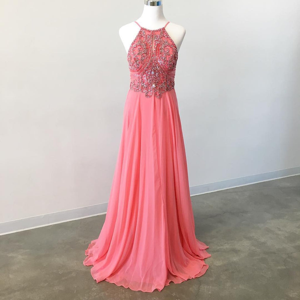 long chiffon coral pink prom dresses beaded halter top 2017 elegant