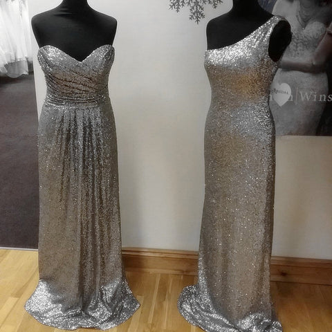 Image of Long Silver Sequins Bridesmaid Dresses