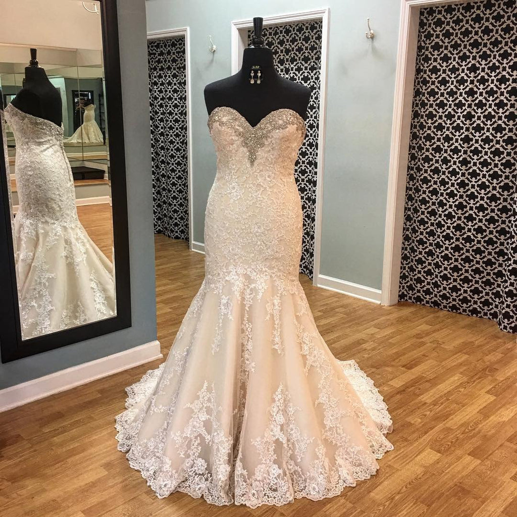 Crystal Beaded Sweetheart Lace Mermaid Wedding Gowns