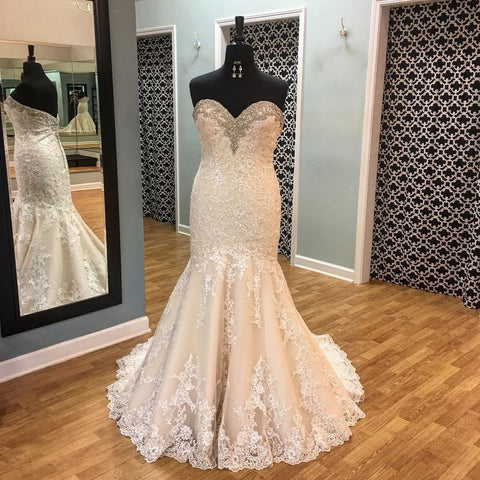 Image of Crystal Beaded Sweetheart Lace Mermaid Wedding Gowns