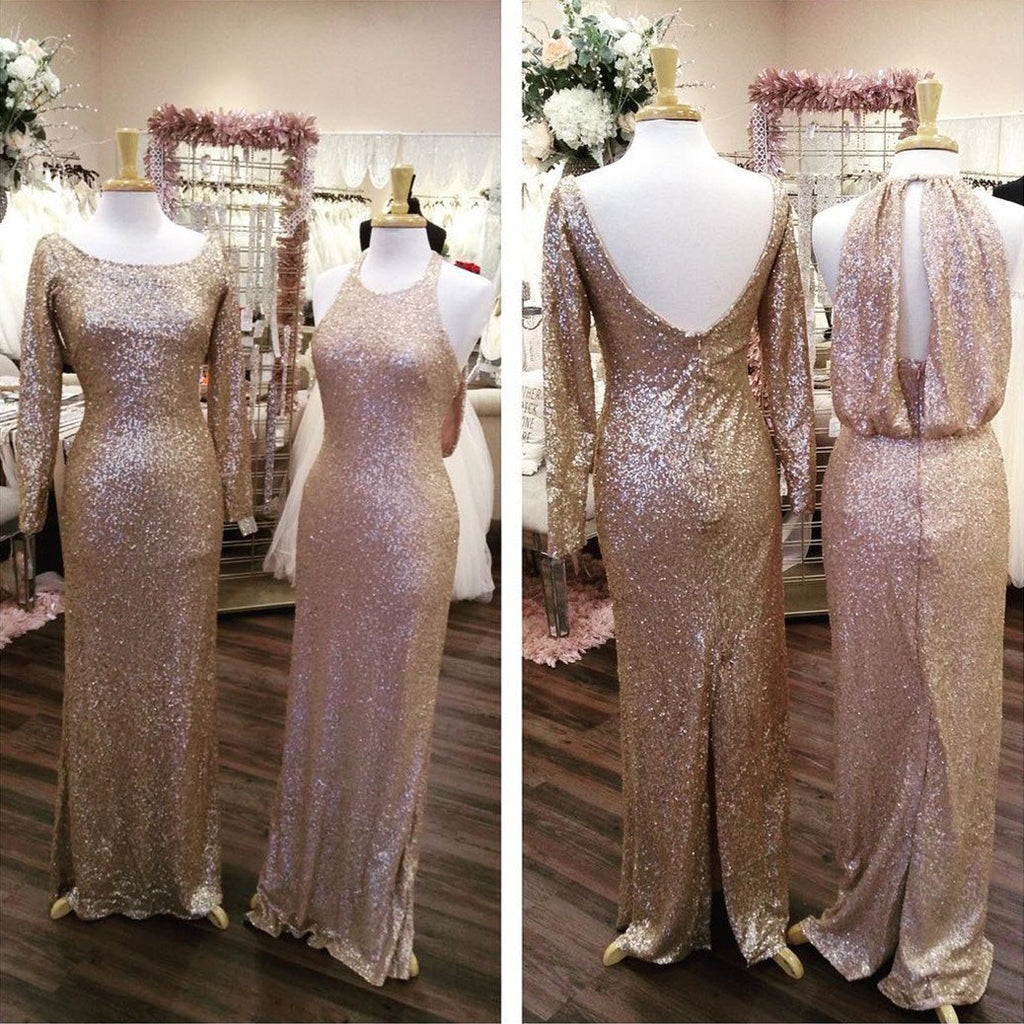 Long Sleeves Gold Sequin Bridesmaid Dresses