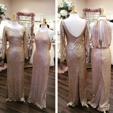 Afbeelding in Gallery-weergave laden, Long Sleeves Gold Sequin Bridesmaid Dresses