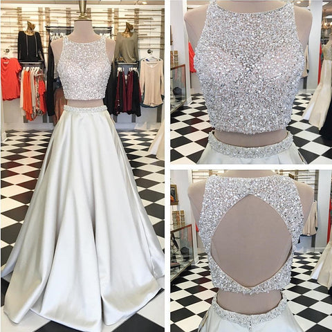 Image of elegant sequins and beaded prom dresses ball gowns two piece