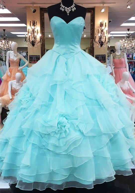 Strapless Sweetheart Organza Layered Ball Gowns Quinceanera Dress