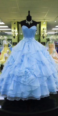 Image of Strapless Sweetheart Organza Layered Ball Gowns Quinceanera Dress