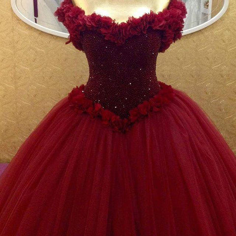 Image of Bling Bling Sequins Beaded Corset Tulle Ball Gowns Flower Wedding Dress Off Shoulder