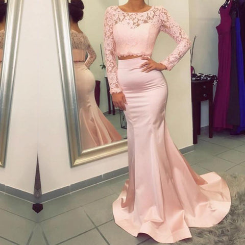 Image of elegant pink lace long sleeves mermaid evening dresses two piece prom dress