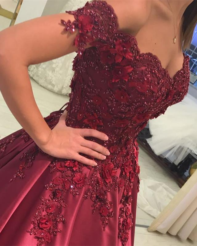 In Stock Burgundy Quinceanera Dresses Ball Gowns Lace V-neck Off Shoulder
