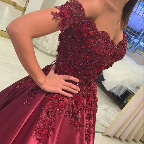 Image of Burgundy satin ball gown wedding dresses off the shoulder