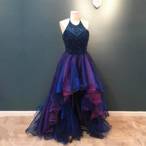 95ee5d06e928 Stunning Beaded Halter Organza Ruffle Ombre Prom Dress Front Short Long In  The Back