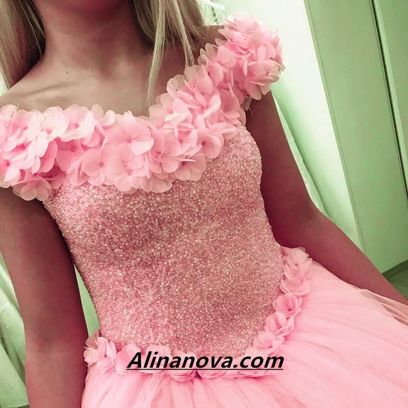 Blush Pink Flower Wedding Dresses Ball Gowns With Sequins Beaded Corset
