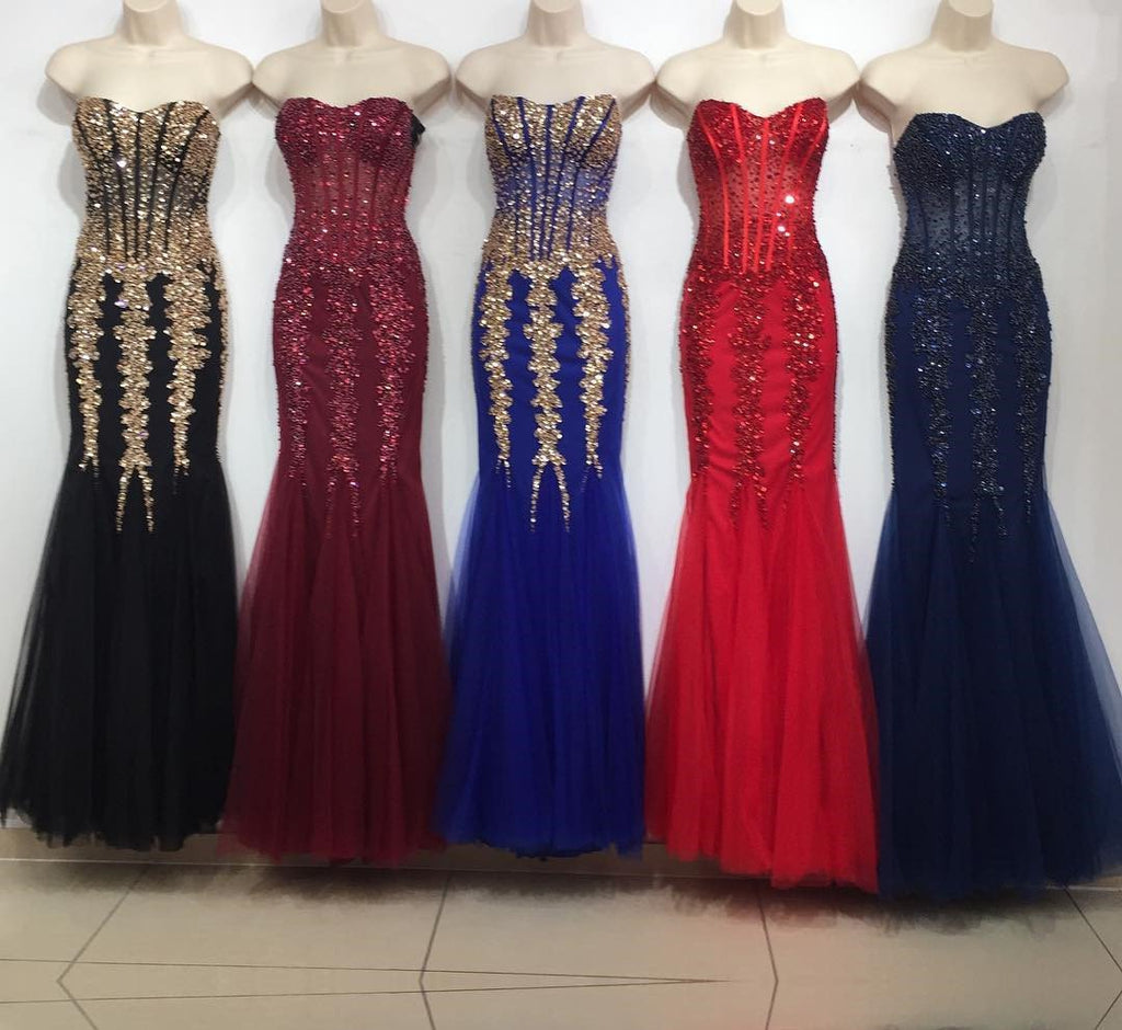 Stunning Beading Sweetheart Bodice Corset Mermaid Evening Dresses Pageant Gowns