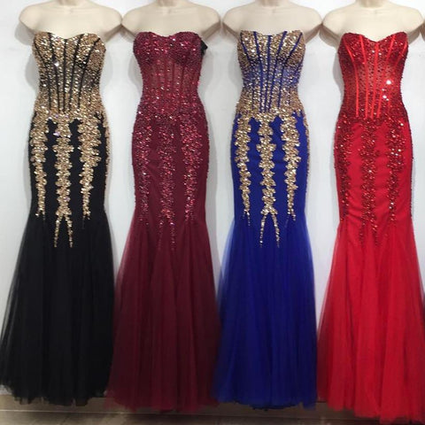 Image of Stunning Beading Sweetheart Bodice Corset Mermaid Evening Dresses Pageant Gowns