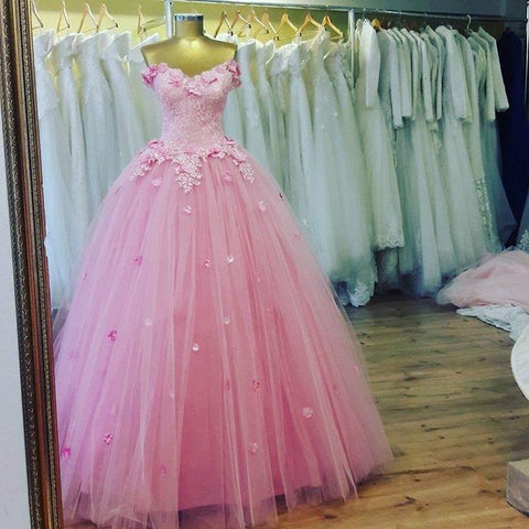Image of Charming Lace Appliques V Neck Pink Tulle Quinceanera Dresses 2017