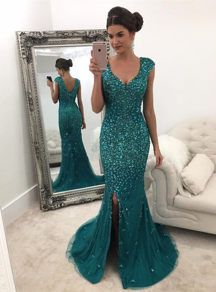 Emerald Green Mermaid Prom Dresses Crystal Beaded Evening Gowns