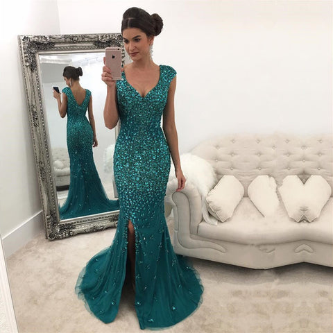 Image of Emerald Green Mermaid Prom Dresses Crystal Beaded Evening Gowns