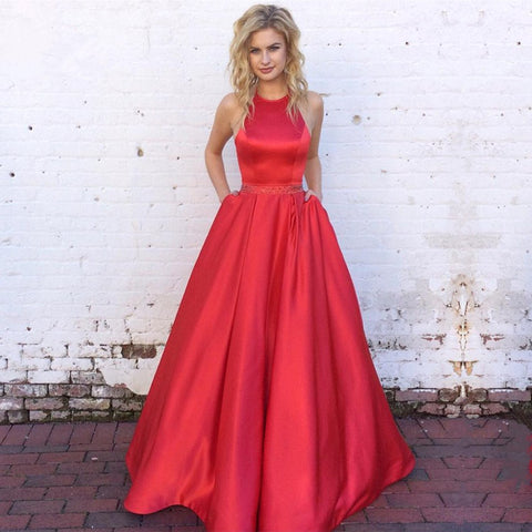 Image of halter long satin red ball gowns prom dresses open back
