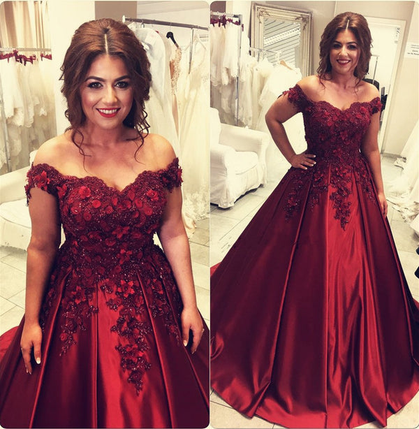 Burgundy satin ball gown wedding dresses off the shoulder