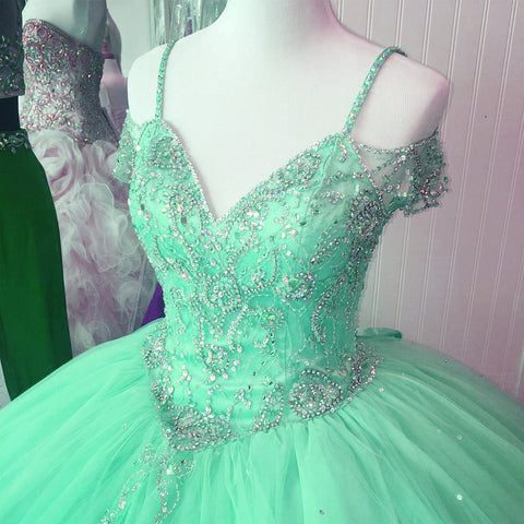 Image of Off The Shoulder Crystal Beaded Ball Gowns Quinceanera Dresses 2017