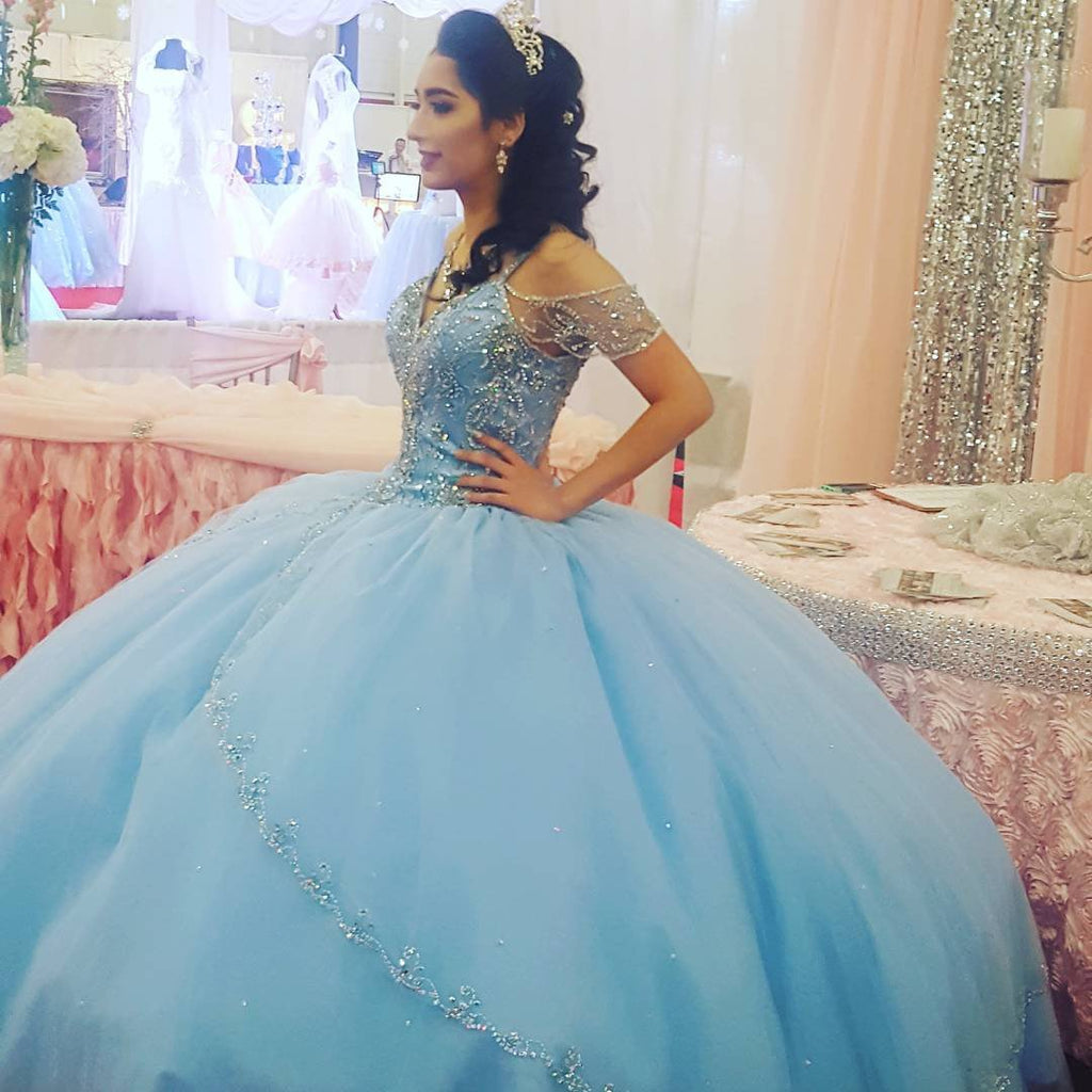 Off The Shoulder Crystal Beaded Ball Gowns Quinceanera Dresses 2017