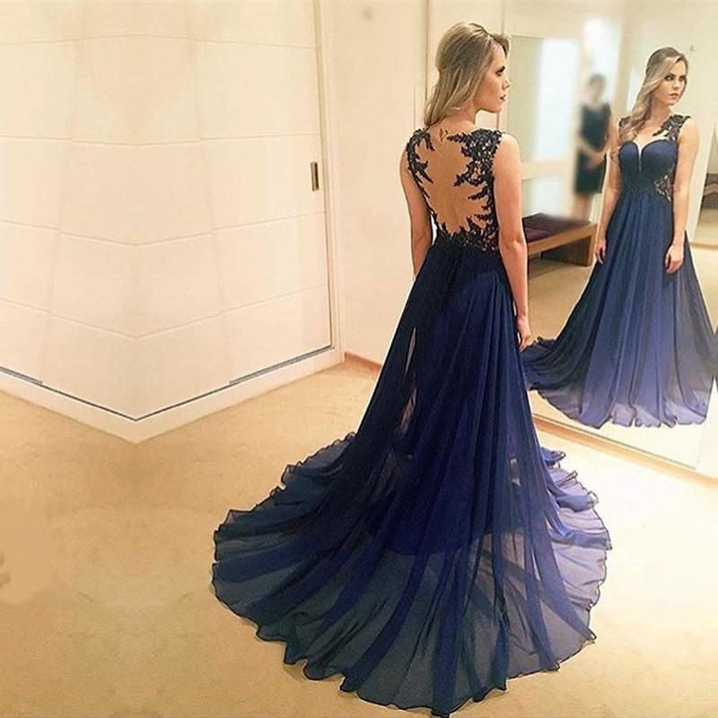 elegant lace appliques chiffon navy blue evening gowns 2017 prom long dress