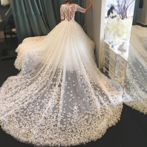 Image of modest half sleeves lace princess wedding dresses royal train