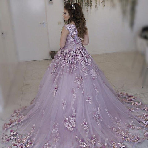 Image of Lilac Tulle Cap Sleeves Wedding Dresses With Floral Flowers