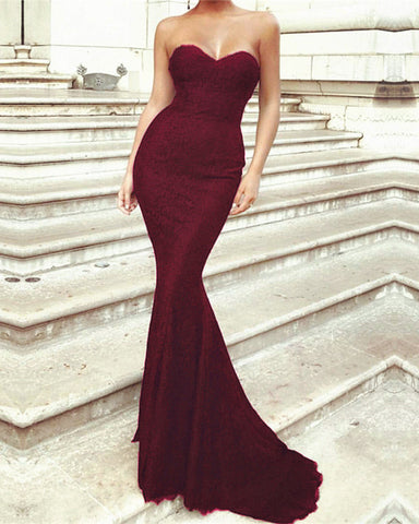 Image of Burgundy-Lace-Evening-Dresses