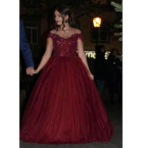 Image of Gorgeous Lace Beaded Sheer Neckline Maroon Ball Gown Wedding Dresses