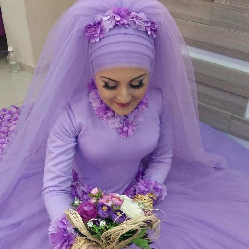 Long Sleeves Ball Gowns Flower Wedding Dresses Hijab For Muslim Arabic Women