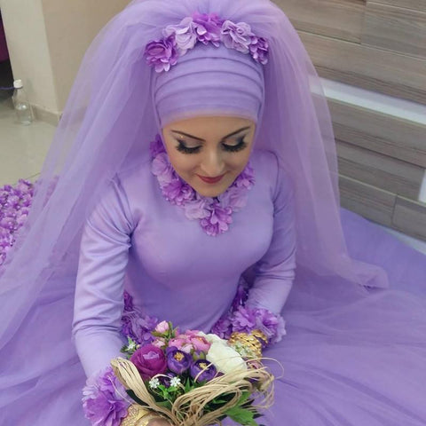 Image of Long Sleeves Ball Gowns Flower Wedding Dresses Hijab For Muslim Arabic Women