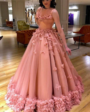 Image of Pink-Wedding-Dresses-Ball-Gowns-Flowers-Beaded-Evening-Gowns