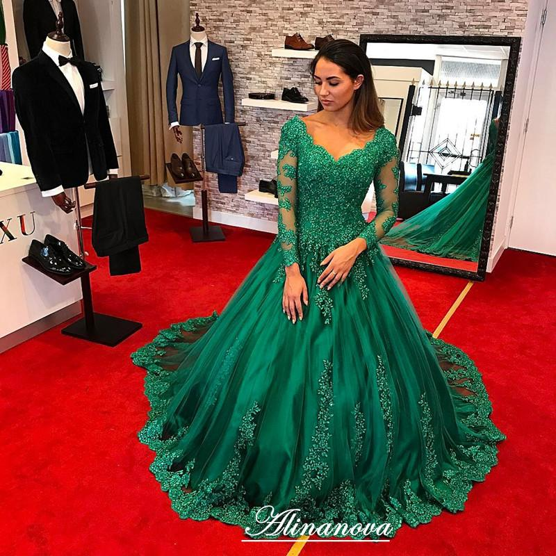 cdf6919029 Green Lace Appliques Long Sleeves V Neck Ball Gowns Wedding Dresses 2017. Double  tap to zoom