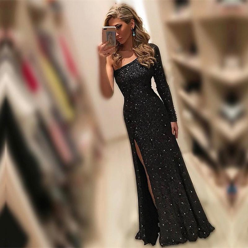 fully sequins and beaded black mermaid evening dresses one shoulder prom gowns with slit