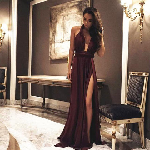 Image of Long Chiffon Burgundy Bridesmaid Dresses